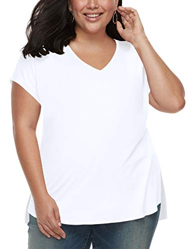Plus Size Tops Womens V Neck Cute Casual Tee Shirts Loose Fit Simple 4X Tshirt White