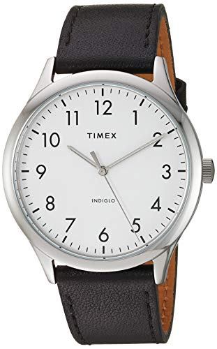 Timex Men's Modern Easy Reader 40mm Analog Quartz Leather Strap, Black, 20 Casual Watch (Model: TW2T718009J)