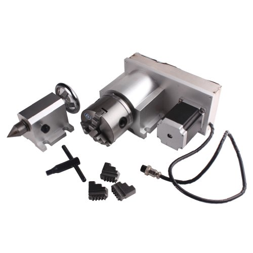 Sunwin CNC F Style A-Axis, 4th-Axis, Router Rotational Rotary Axis 3-Jaw 80mm+Tailstock by Sunwin