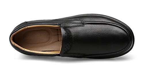 Tda Herenmode Leer Ademend Business Casual Instappers Rijden Slip Op Schoenen Zwart