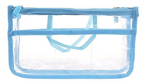 Vercord Clear Purse Handbag Tote Insert Organizer 7 Pockets with Zipper Handle Transparent Blue Large ()