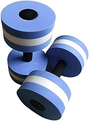 Ejercicio acuático mancuernas, 2 pesas de espuma de agua Aqua fitness mancuernas ejercicio mano bares para aquaeróbic, Azul