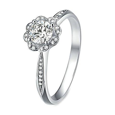GnZoe Women Wedding Rings Silver Lotus Cubic Zirconia Anniversary Rings Vintage For Bride Size 6 (Platinum Brand Iphone 6 Plus Case)