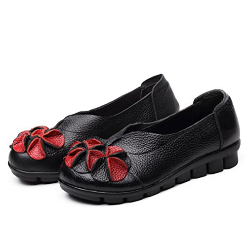 Style Mordenmiss Topline Handmade Round Flower 2 With Women's Leather Unique Black Shoes ZxZaTzqwf