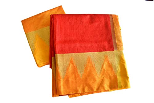 Rainbow Collections Modern Wear Linen Saree in Gold Zari and Yellow Color Border and Pallu in Red Color. Saree Fall and Edge is Fully - Pallu Saree