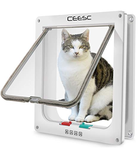 """CEESC Extra Large Cat Door (Outer Size 11″ x 9.8″), 4 Way Locking Large Cat Door for Interior Exterior Doors, Weatherproof Pet Door for Cats & Doggie with Circumference < 24.8"""" (White)"""