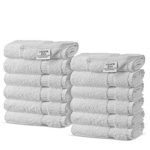 Chakir Turkish Linens Turkish Cotton Luxury Hotel & Spa Bath Towel, Wash Cloth - Set of 12, White (Bath Linens Walmart)
