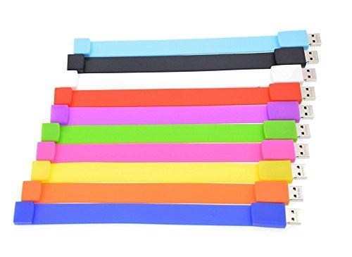 1GB USB Flash Drive Bulk 100 Pack - FEBNISCTE Wrist Bracelet Pen Drives Multi-Coloured USB 2.0 Memory Sticks with LOGO