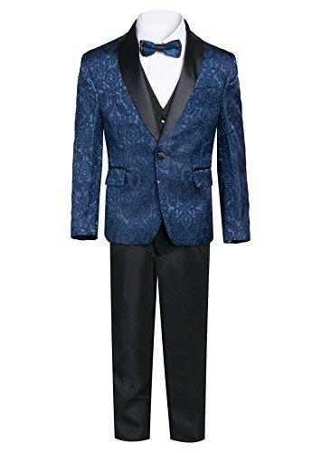 Boys Premium Paisley Patterned Shawl Lapel Tuxedos - Many Colors (16, Navy with Black) ()