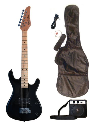 BLACK Junior Kids Mini 3/4 Electric Guitar Amp Starter Pack, Guitar, Temolo, Amplifier, Gig Bag, Strap, Cable, & DirectlyCheap(TM) Translucent Blue Medium Guitar Pick by Directly Cheap