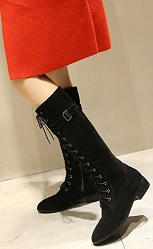 Pointed Faux Up Suede Toe Zip Women's Chunky Sweet Black Mid Low Easemax Booties Calf Heeled IwFqBRy