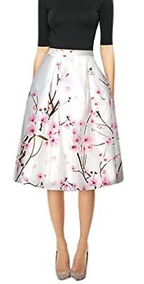 Youtobin Women Spring Elegant Silk Floral Printed High Waisted Midi Skater Skirt