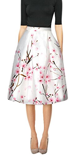 Youtobin Women Spring Elegant Silk Floral Printed High Waisted Midi Skater Skirt