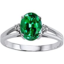 Tommaso Design Simulated Emerald Ring 10kt Gold