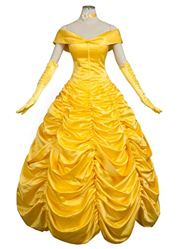 CosFantasy Princess Belle Cosplay Costume Ball Gown Fancy Dress mp002019 (Women L) Golden -