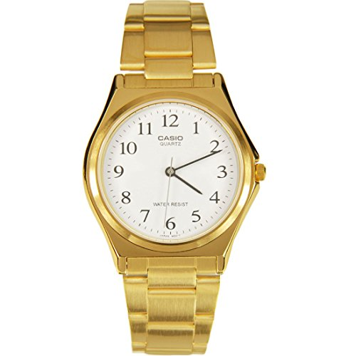 MTP1130 3-Hand Analog Mens Fashion White Face Gold Metal Band Watch