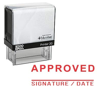 Approved Signature And Date With Line Office Self Inking Rubber Stamp