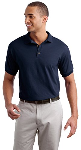 Gildan Mens DryBlend 6-Ounce Jersey Knit Sport Shirt, Large, Navy (Blend Pique Knit Sport Shirt)