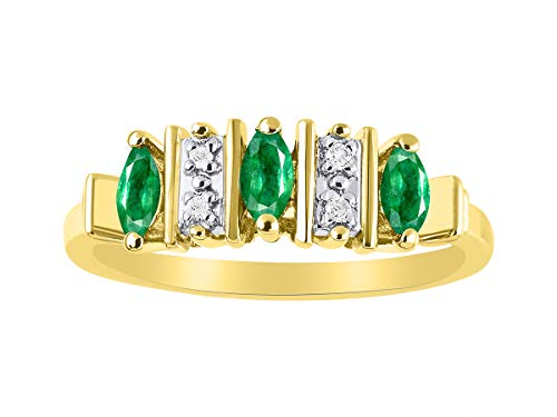 Marquise Emerald & Diamond Ring Set in Yellow Gold Plated Silver - Set Emerald Claddagh Ring