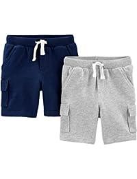 Boys' Toddler Multi-Pack Knit Shorts, Light Grey/Navy, 5T