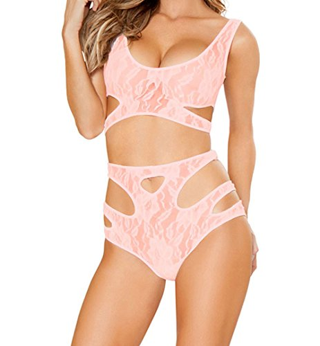 YeeATZ Sexy Cutout Pink Lace Lingerie Set(Pink,L) (One Cheerleader Toddler Dress Piece)