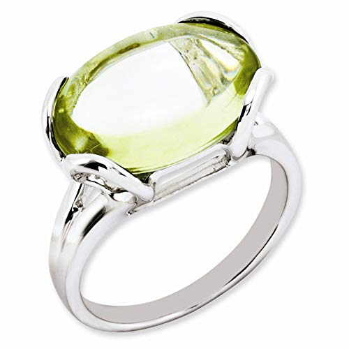 Bonyak Jewelry Sterling Silver Rhodium-Plated Oval Lemon Quartz Ring - Size 7