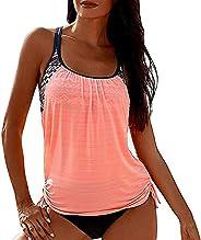 JJAI Women's Two Piece T-Back Tankini Set Swimsuit Striped Blouson Print Strappy Top with Boyshorts Push u