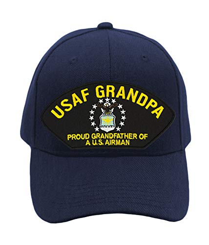 Air Force Grandpa - Proud Grandfather of a US Airman Hat/Ballcap (Black) Adjustable One Size Fits Most (Navy Blue, Add American Flag)