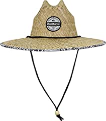 Special features include: men's straw lifeguard hat with a woven straw design, cut in a printed woven fabric under brim for added sun protection, and rounded out with an embroidered twill patch on the front.