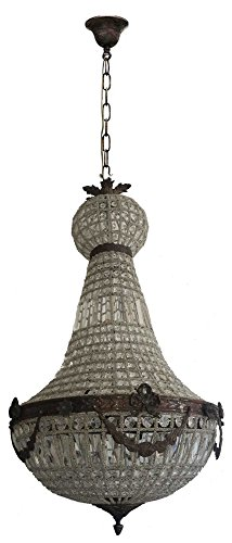 Antique Bronze Finish Crystal - Egypt gift shops Antique Bronze Finish Brass Crystal Foyer Entry Lighting French Empire Cage Ceiling Chandelier Lamp Light Fixture