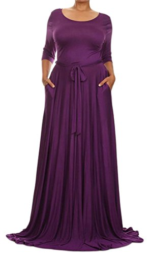 4 Dress Women's Sleeve Floral Dress ainr Long V Maxi Waist Neck Full Purple 3 Wrap Tie dRfBfW0Sxz