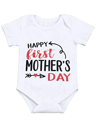 Happy First Mother's Day Outfits Newborn Baby Short Sleeve Bodysuit Love Arrow Cute Clothes(6-9 Months) -