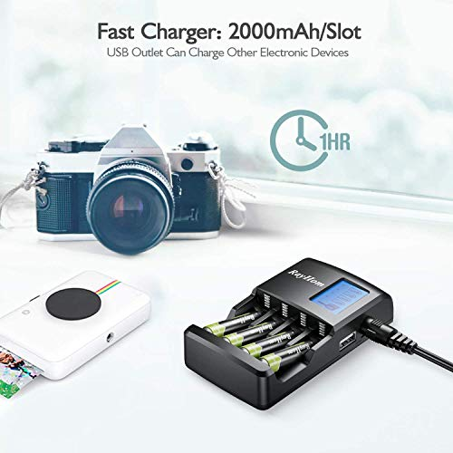 RayHom Fast AA & AAA Battery Charger with USB Port and LCD Display for Ni-MH Rechargeable Batteries