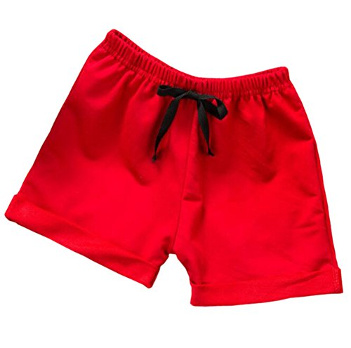 Hwafan Toddler Baby Boys Girls Solid Color Summer Sport Jogger Active Shorts Pants Red 12-18 - Girls Baby Infant Loungewear Pant