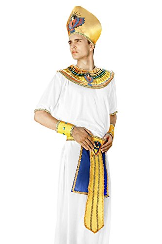 Egyption Costume Makeup (Adult Men Egyptian Pharaoh Halloween Costume King of Egypt Dress Up & Role Play (One Size - Fits All, white, gold))