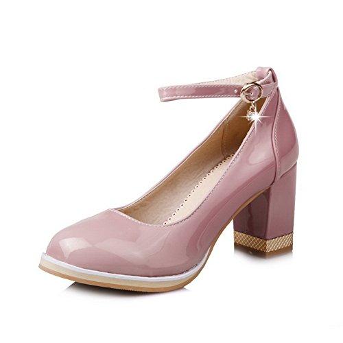 VogueZone009 Damen Mittler Lackleder Rein Schnalle Rund Zehe Pumps Schuhe Pink
