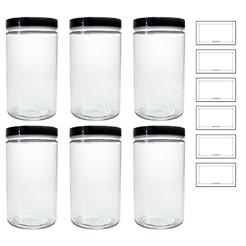 Clear 32 oz PET Plastic (BPA Free) Large Refillable Jar - (6 pack) + Labels ()