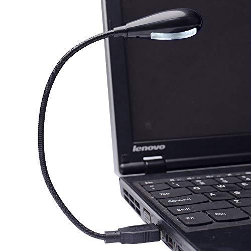 Usb Led Flexible - Hanerdun 4 Bright LED Lights USB Lamp Laptop Reading Lamp with Two Brightness Setting Flexible Gooseneck Black