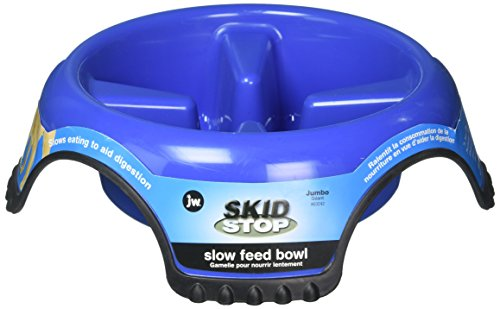 JW Pet Company SkidStop Slow Feed Dog Bowl, Jumbo (Colors (Jumbo Feeder)