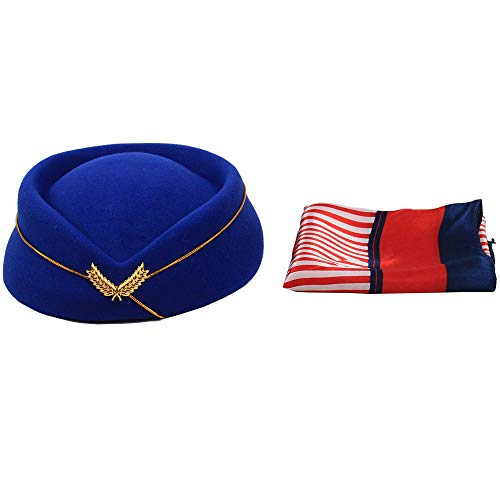 NWZSM Women Fashion Solid Color Stewardess Hat Wool Cap Flight Attendant Hat Cosplay Props with Silk Scarf (Navy Blue)