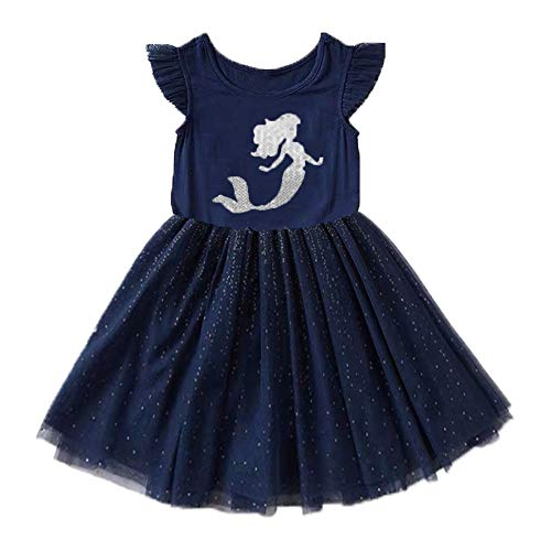 VIKITA Girls Summer Blue Dresses Short Sleeve Casual