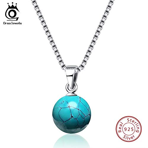 Authentic 925 Sterling Silver Necklaces & Pendants | Natural Stone Turquoises Pendant | Women Necklace Party Jewelry