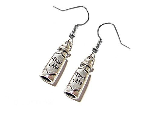 Hearts In Alice Wonderland Costumes King Of (Dangle Earrings Alice In Wonderland Drink Me In Gift Box by)