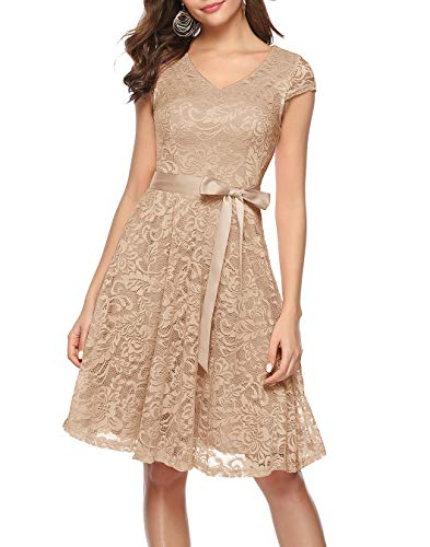 BeryLove Women's Floral Lace Short Bridesmaid Dress Cap Sleeve Cocktail Party Dress BLP7006ChampagneM