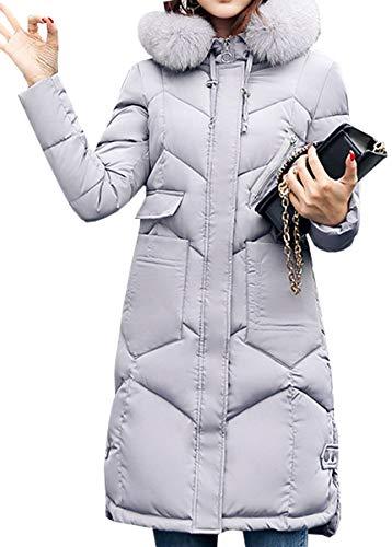 Mujer Moda Outwear Capucha Cálida Gris Larga Acolchada Con Chaqueta Blackmyth Largo Manga 65dqCwvw