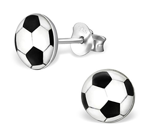 - Best Wing Jewelry .925 Sterling Silver Soccer/Football Stud Earrings for Children and Teens
