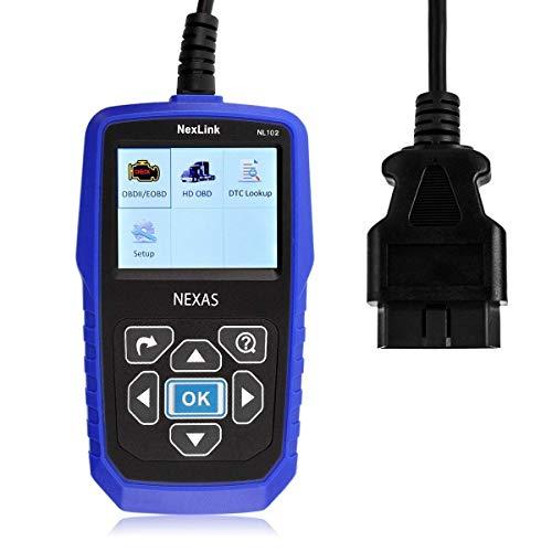 NEXAS Heavy Duty Truck Scanner NL102 OBD/EOBD+HDOBD Diagnostic Scanner Scan Tools Engine ABS Transmission Check Trucks & Cars 2 In 1 Codes Reader