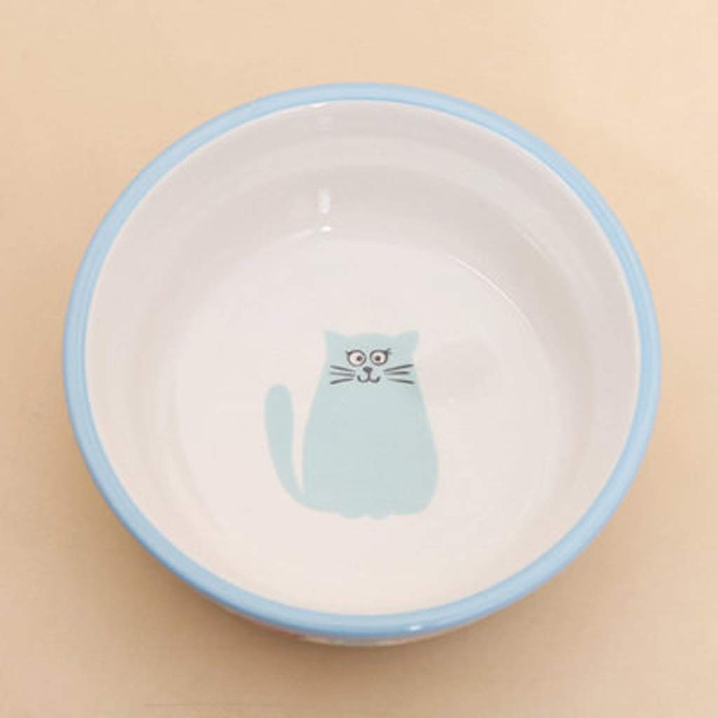 CXQ Dog Bowl Cat Bowl Creative Kitten Ceramic Bowl Cat Food Dog Food Bowl bluee Pet Supplies