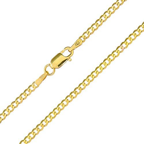 Revoni Bague en or jaune 9carats-2.1g-Collier Femme-Maille Gourmette, longueur 46cm/45,7cm, 1,8mm Largeur
