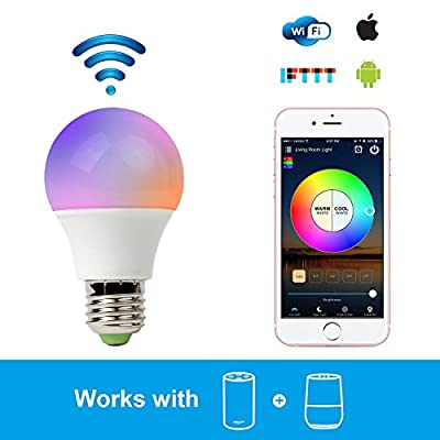 RGB LED Smart Bulb,WiFi Light Bulb,Multicolor,Dimmable,No Hub Required, 45W Equivalent, Works with Amazon Echo Alexa and Google Home Assistant,CE/FCC/UL Listed